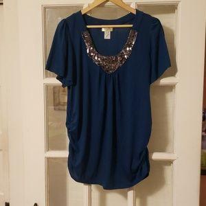Lavish Sequined Blue Top